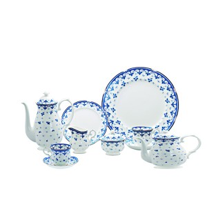 Jogo para Ch�, Caf� e Bolo Royal Bone China Blue Leaf 100041 41 pe�as em porcelana.