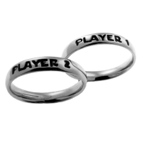 Par de Alian�as em Prata 925 - Player 1 / Player 2 - 1235