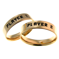 Par de Alian�as em Ouro 18k - 5mm - Player 1 / Player 2 Pixelado - 1234AU