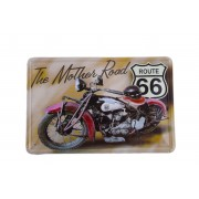 Placa de Metal Retr� - Moto Route 66
