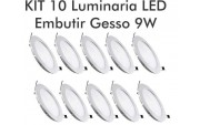 KIT 10 LUMIN�RIA SLIM 9W REDONDO