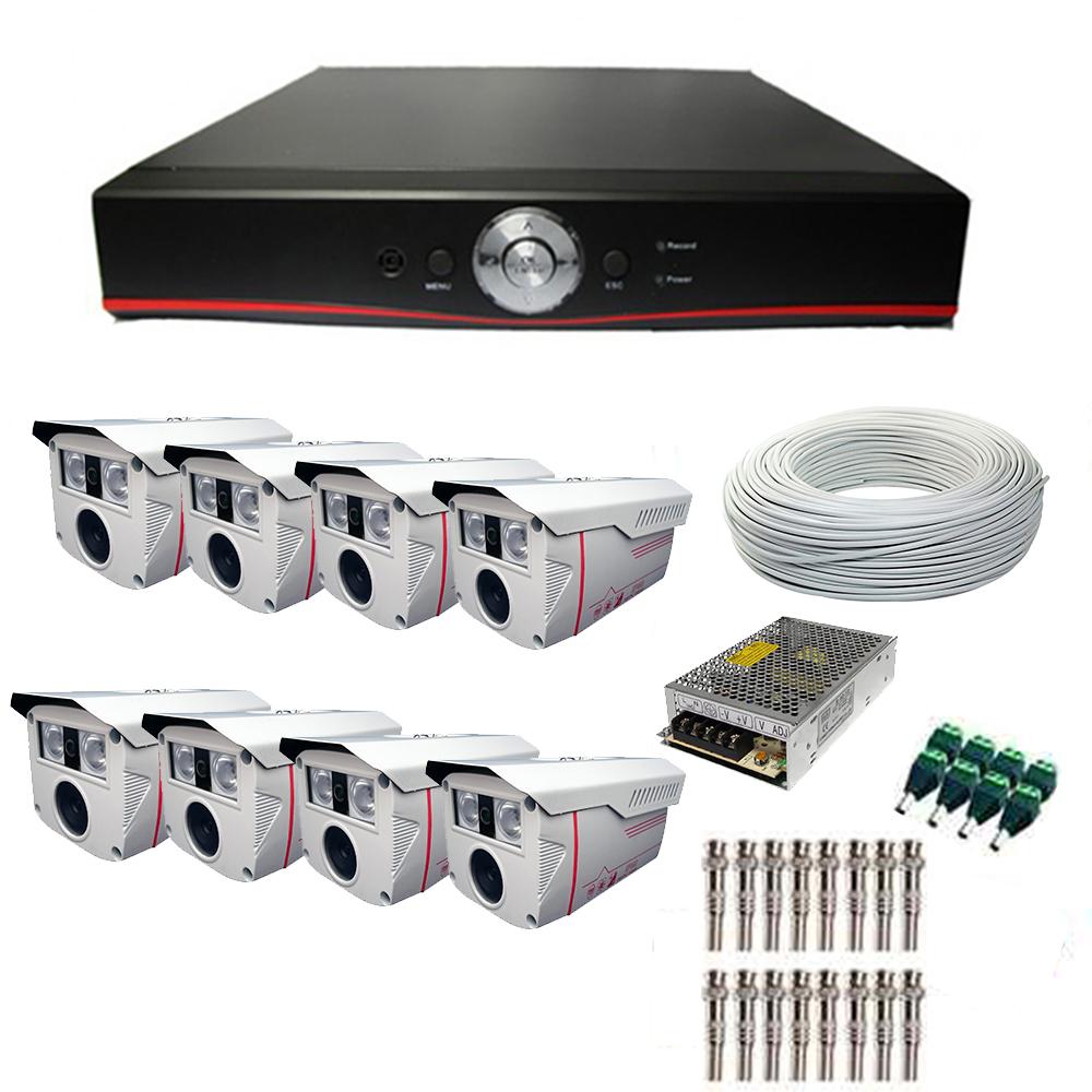 Kit Segurança CFTV - DVR AHD 8 Canais - FULL HD + 8 Câmeras AHD com Infra 1080P + Cabos + Conectores + Fontes cod. IDPROD_2873 - BARCODE_SH4208