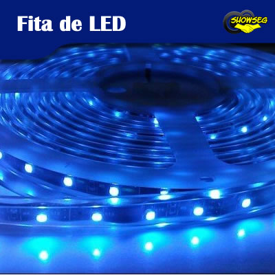 Fita de LED Azul 24W ( IP20 - Uso Interno ) - Rolo com 5 metros - 1ª Linha - SMD3528 - Com fita adesiva 3m cod. IDPROD_352 - BARCODE_SH7001