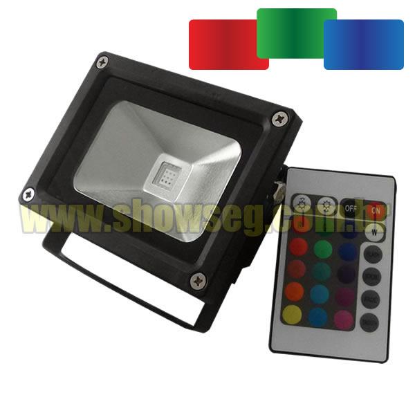 Refletor de LED - RGB 10W - IP65 - Até 16 Cores com Controle Grátis cod. IDPROD_742 - BARCODE_SH7589