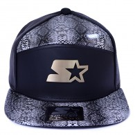Bon� Starter Black Label Strapback Five Snake Preto / Couro Cobra