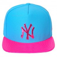 Bon� New Era Strapback New York Yankees 9Fifty A-Frame Azul / Pink Aba Couro