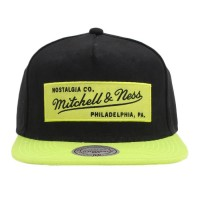 Bon� Mitchell and Ness Snapback Script Black/Green Lemon