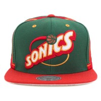 Bon� Mitchell And Ness Snapback Seattle Super Sonics Green/Red