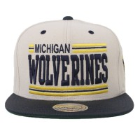 Bon� Mitchell And Ness Snapback Michigan Wolverines Beige/Navy