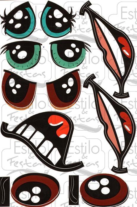 Adesivo Para Geladeira Kombi ~ Adesivo Cartela com Olhos e Boca com cara de bonecos Japoneses Mangá Acessorios para Festas
