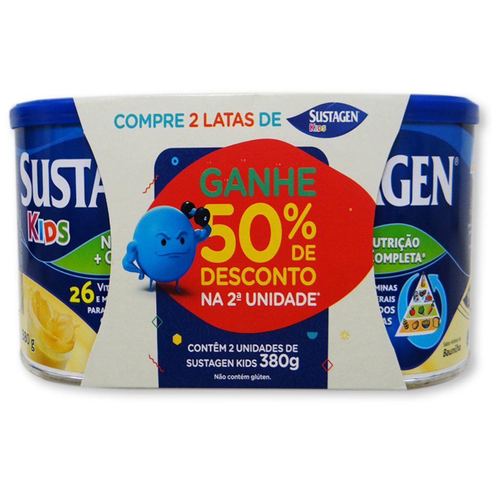 SUSTAGEN KIDS SABOR BAUNILHA - 380GR ( CADA ) COMPRE 2 LATAS e GANHE 50% DE DESCONTO NA SEGUNDA