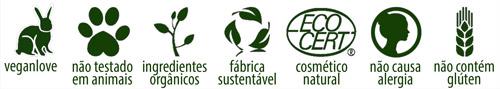 veganlove - não testado em animais - ingredientes orgânicos - fábrica sustentável - cosmético natural - não causa alergia - não contém glúten