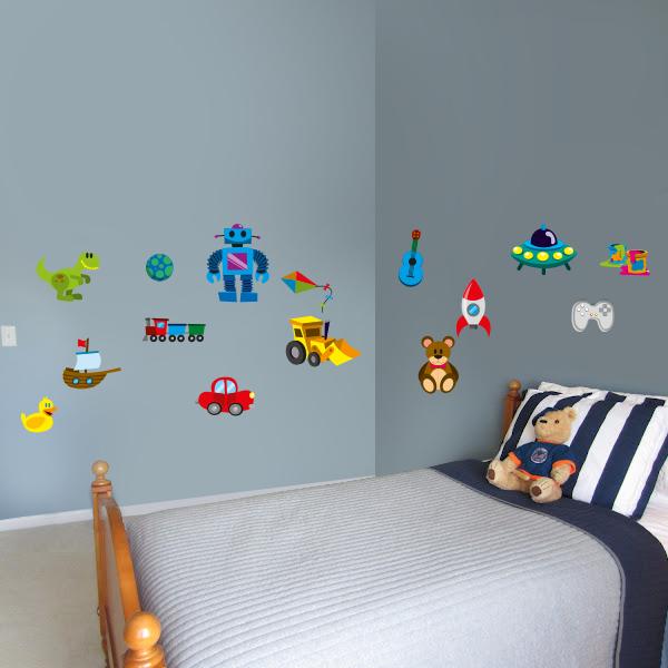 Artesanato Kit Higienico Para Banheiro ~ Adesivo de parede infantil brinquedos de menino Fran