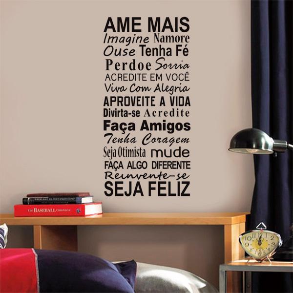 Adesivo de Parede Frase Ame mais 2  Fran Adesivos