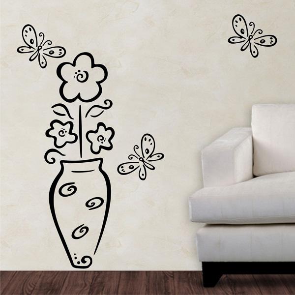 Aparador Verde Envejecido ~ Adesivo de Parede Floral 05 (vaso com flores e borboletas) Fran adesivos Fran Adesivos