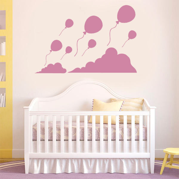 Adesivo de Parede Infantil Balões e nuvens Fran Adesivos