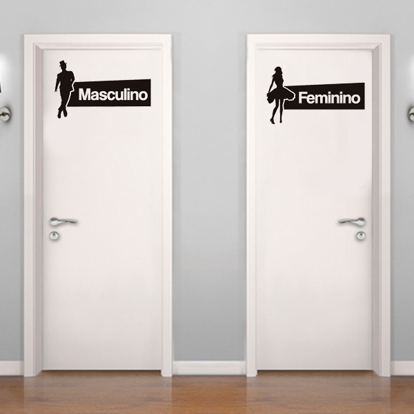 Adesivo de Parede  Placa de banheiro masculino e feminino  Fran Adesivos -> Boneco Banheiro Feminino