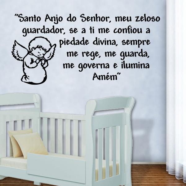 Adesivo de Parede Frase Santo anjo 2 Fran Adesivos ~ Adesivo De Parede Quarto Frases
