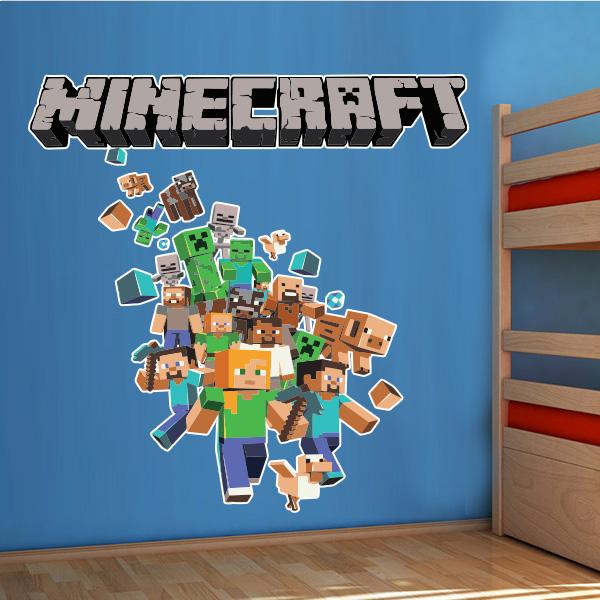 Artesanato Lider ~ Adesivo de parede Infantil Minecraft