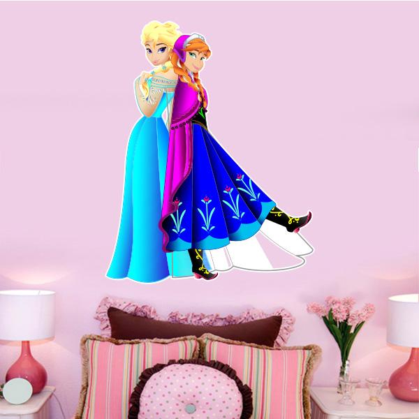Aparador Walmart ~ Adesivo de parede Infantil Frozen Elsa e Anna