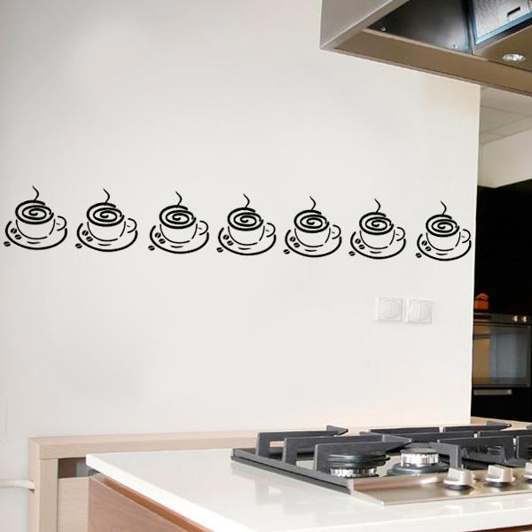 Adesivo Geladeira Personalizada ~ Adesivo de parede para cozinha faixa de xícara Fran Adesivos
