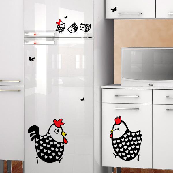 Adesivo para Geladeira cozinha Galo, Galinha e Pintinhos  Fran