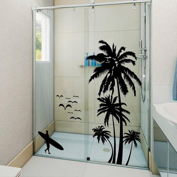 Adesivo para Box de banheiro Coqueiros e Surfista  Fran Adesivos  Fran Ades # Adesivo Para Armario De Banheiro
