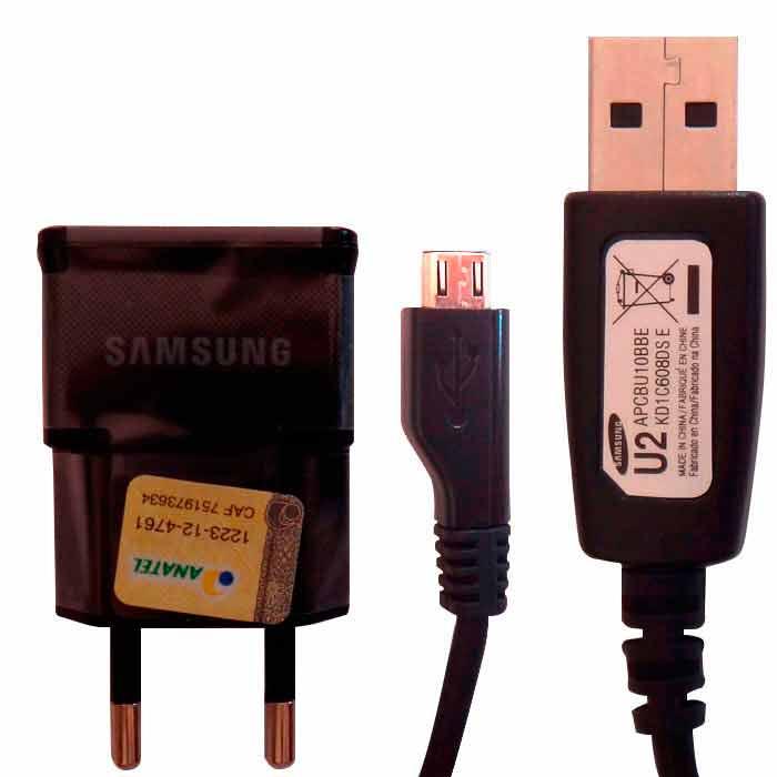Carregador Samsung + Cabo USB Micro USB Black Piano Original