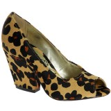 Peep Toe Ver�o Salto Grosso 9cm - On�a