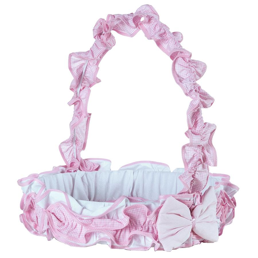 Cesta Decorada Para Quarto Enxoval Bebê Menina Luxo Rosa