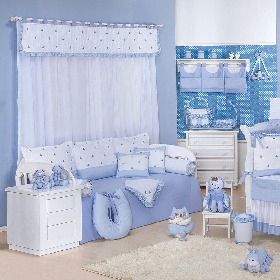 Quarto Completo Luxo Azul Bebê Menino  Essencial Enxovais
