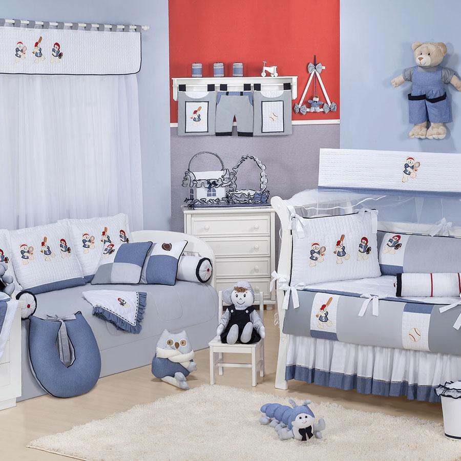 Quarto Completo Enxoval Bebê Menino Esporte Ursinhos Azul