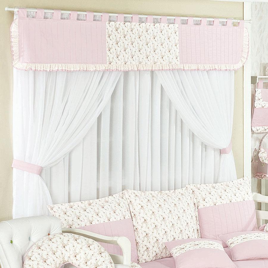 Cortina cole o bella enxoval beb menina rosa floral - Cortinas para bebe ...