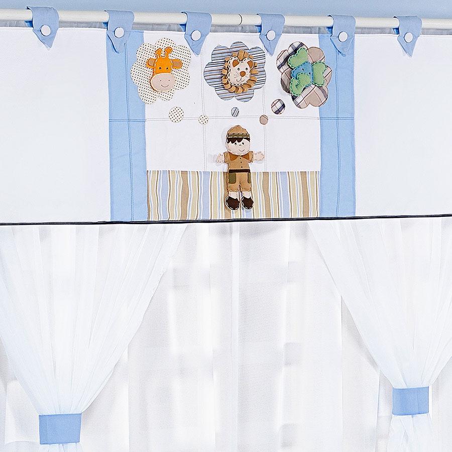 Tapete Safari Quarto Bebe : Cortina Para Quarto de Beb? Menino Safari 1,70M Branco – Azul