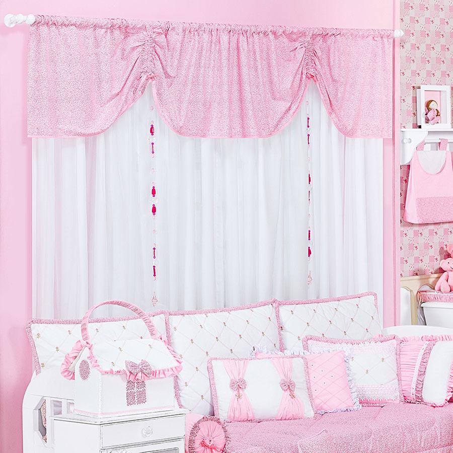 Cortina Botões Para Quarto de Bebê Menina Branco  Rosa