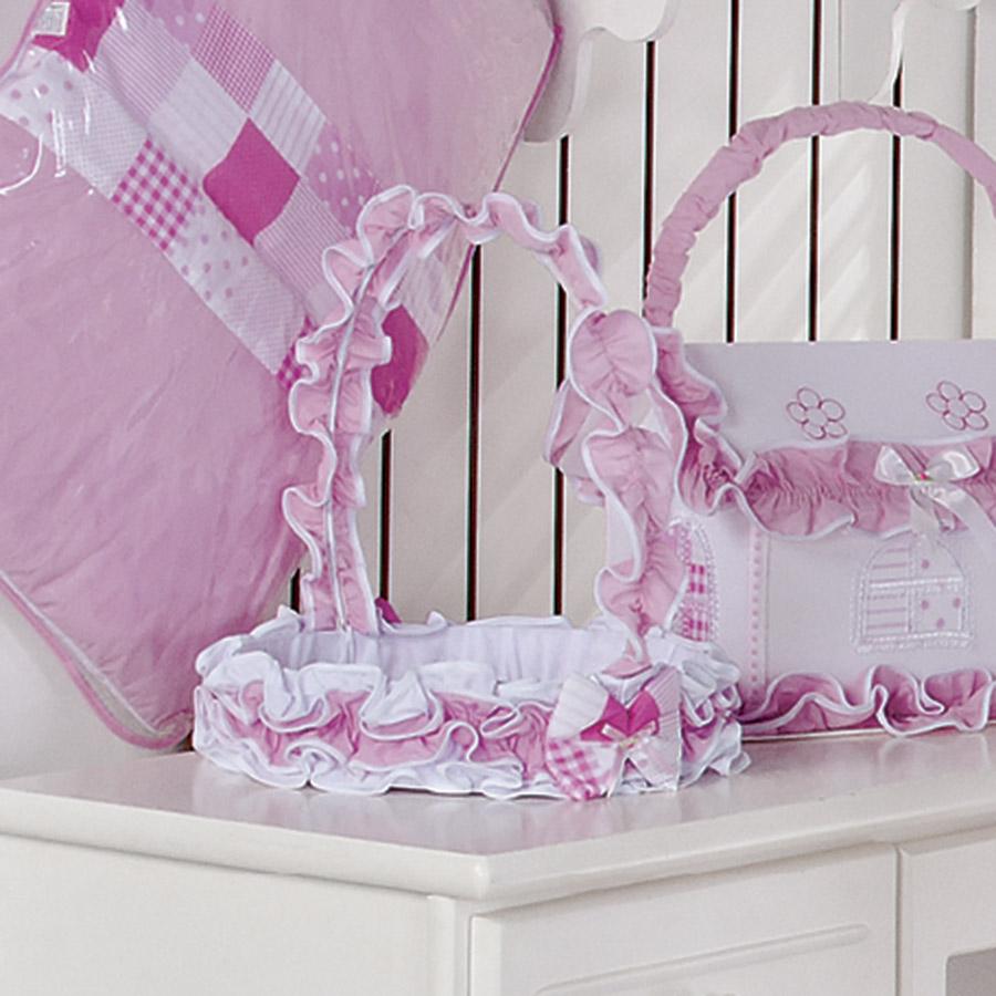 Cesta Decorada Para Quarto de Bebê Menina Sofia Branco  Rosa