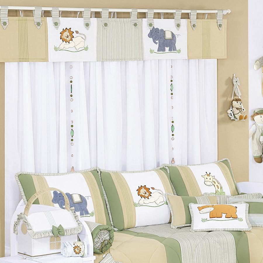 Cortina para quarto de beb menino selva branco bege - Cortinas de bebe ...