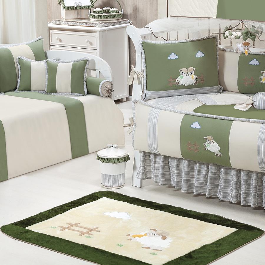 Tapete Para Quarto de Bebê Ovelhinha Palha  Verde Antiderrapante