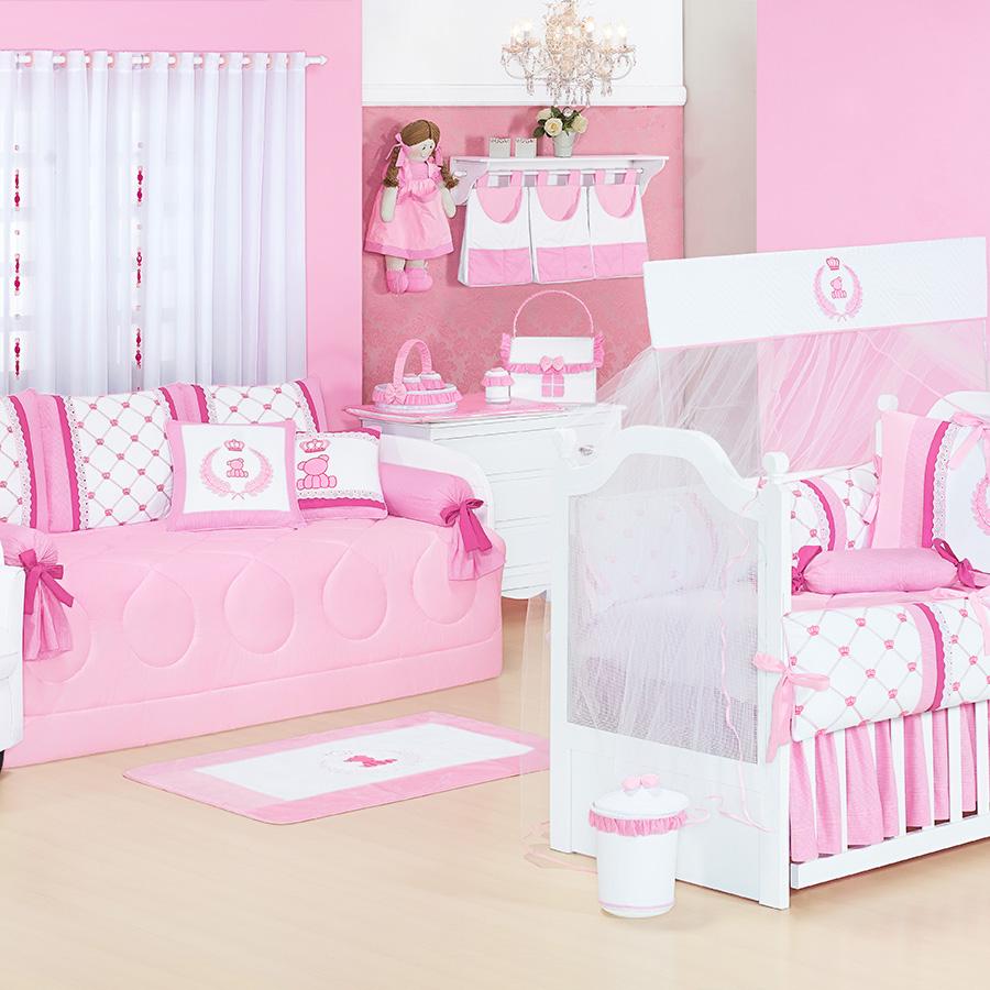 Quarto de Bebê Sem Cama Babá Classic Rosa Essencial Enxovais ~ Quarto Solteiro Completo Rosa