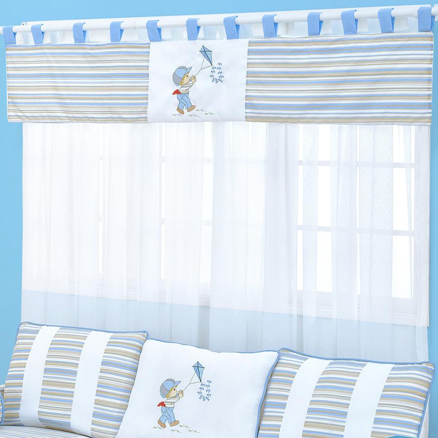 Cortina Para Quarto de Bebê Menino Pipa Azul 2,00M