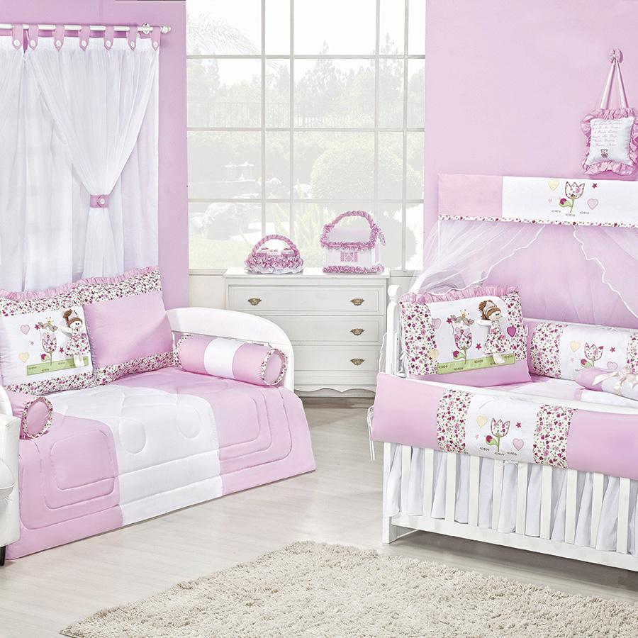 Quarto de Bebê Princesinha Rosa Essencial Enxovais ~ Quarto Solteiro Completo Rosa