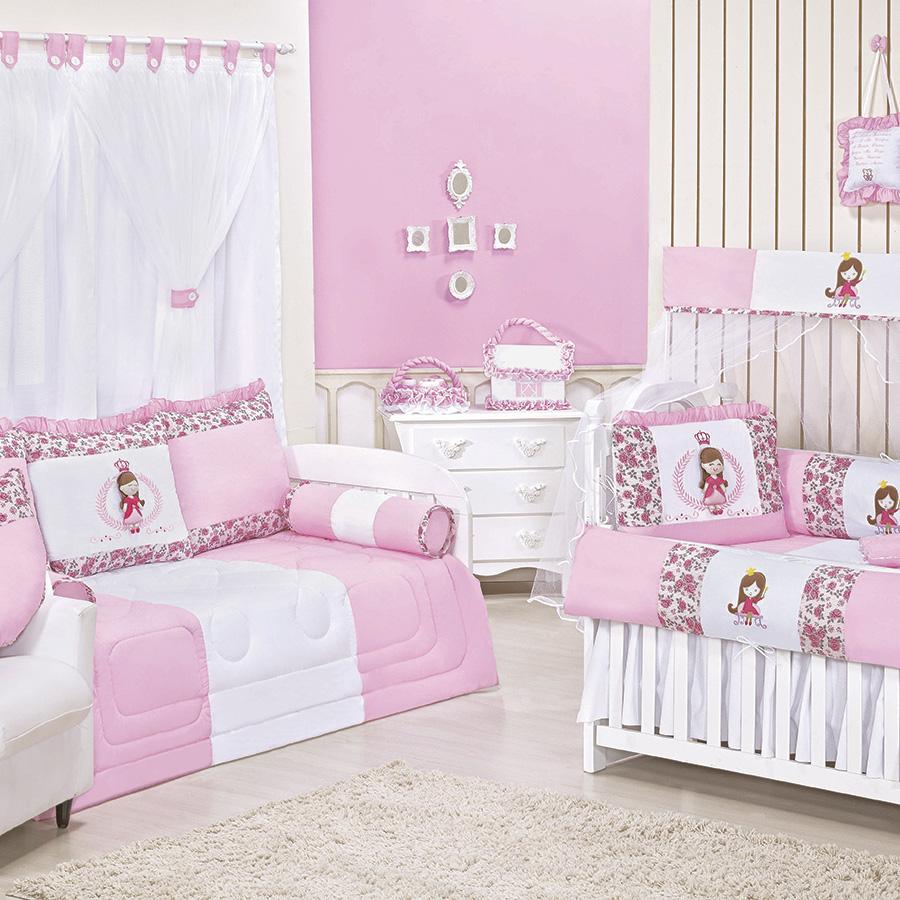 Quarto de Bebê Realeza Rosa Essencial Enxovais ~ Quarto Solteiro Completo Rosa
