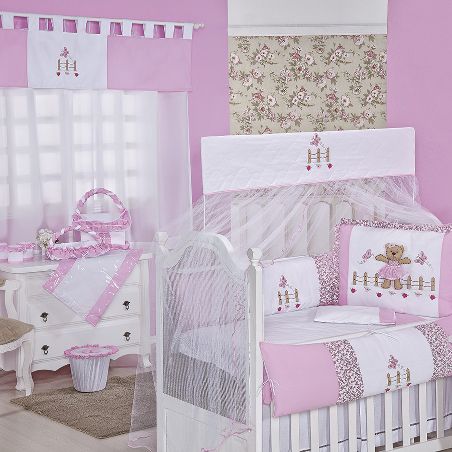 Quarto de Bebê Manu Rosa Essencial Enxovais ~ Quarto Solteiro Completo Rosa