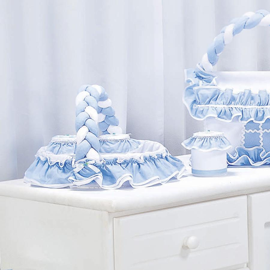 Cesta Decorada Edu Branco  Azul