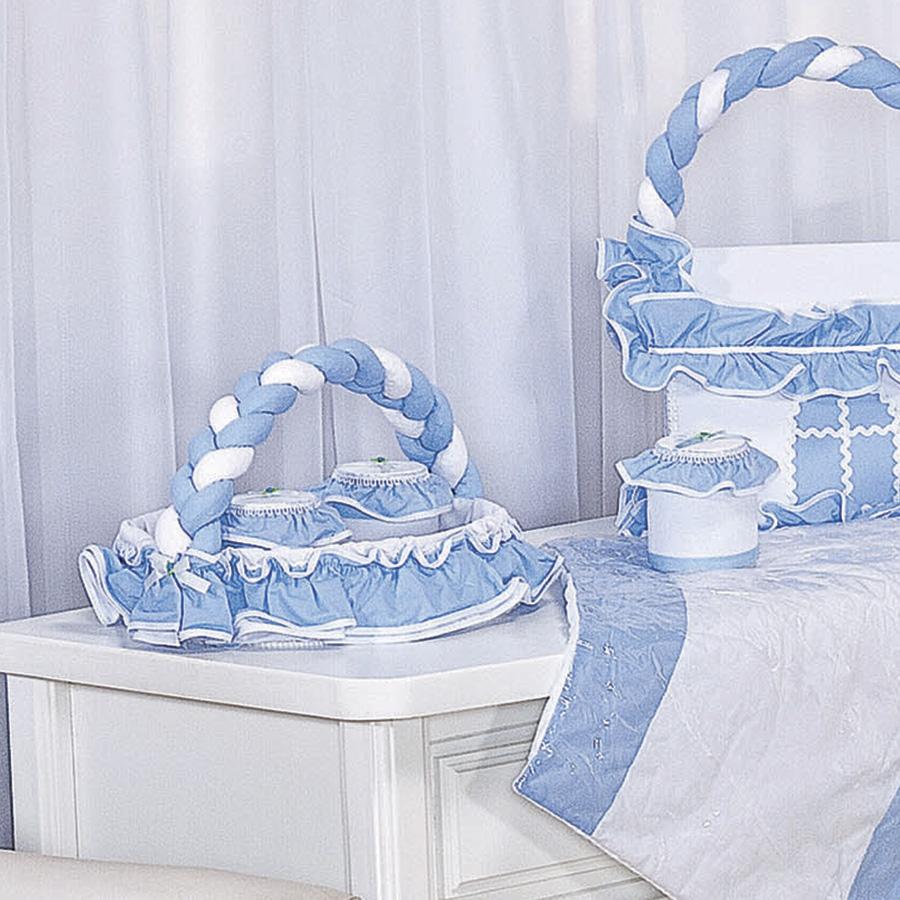Cesta Decorada Fred Branco  Azul