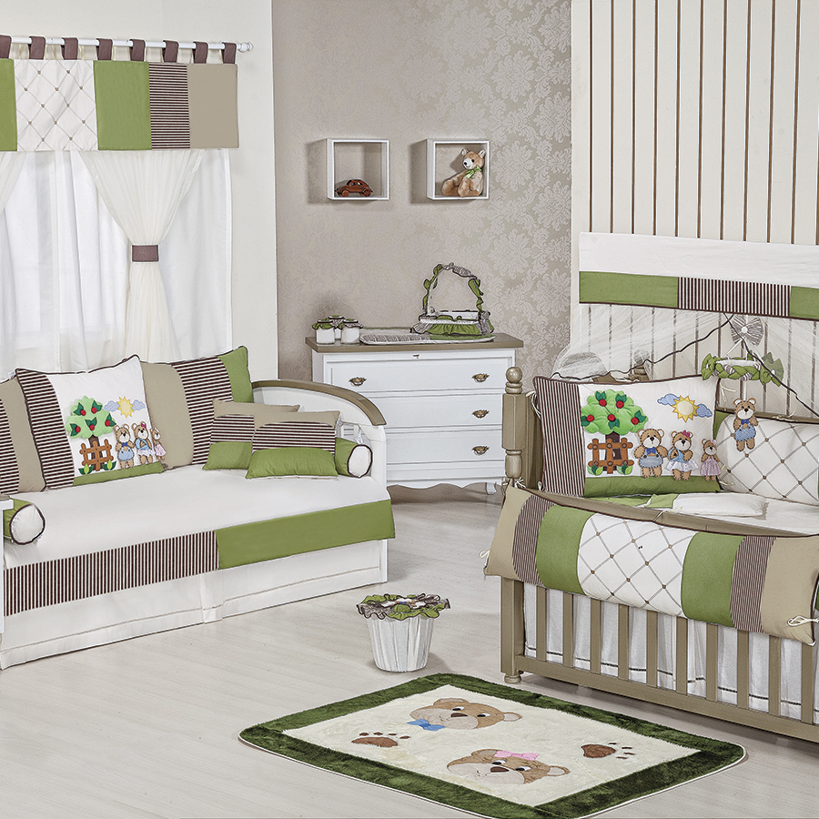 Quarto de Bebê Completo Família Urso Verde Essencial  ~ Quarto Tema Verde