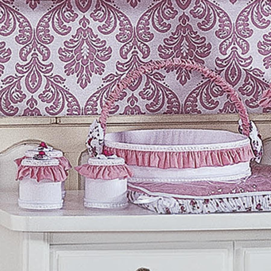 Cesta Decorada Provence Rosa  Essencial Enxovais