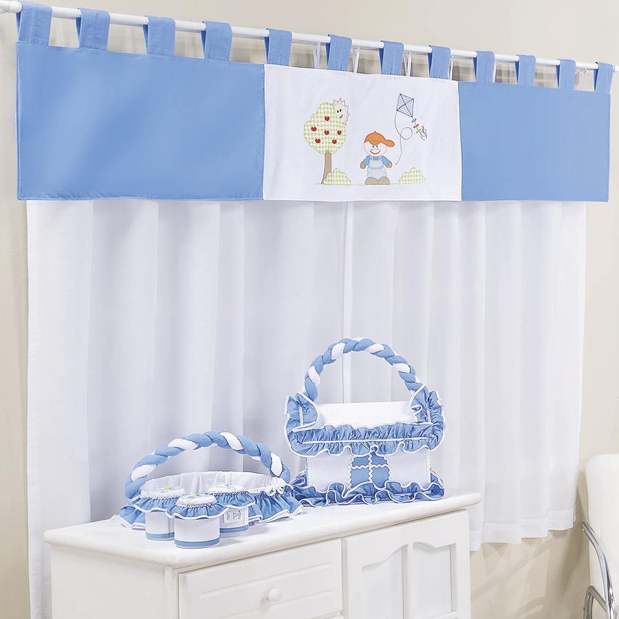 Cortina Quarto de Bebê Menino Pipa Azul  Essencial Enxovais