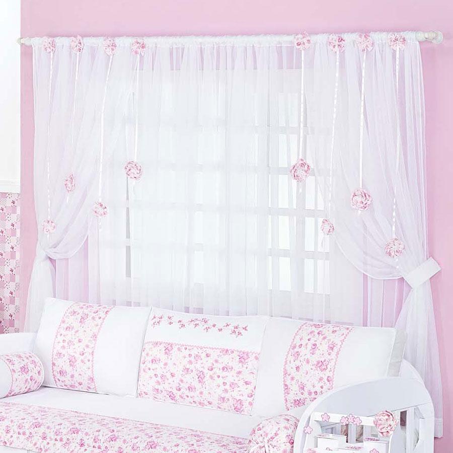 Cortina Para Quarto de Bebê Menina Floral Branco  Rosa 2,00M