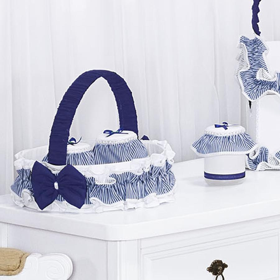 Cesta decorada para quarto de bebê menino cor branco com detalhe azul